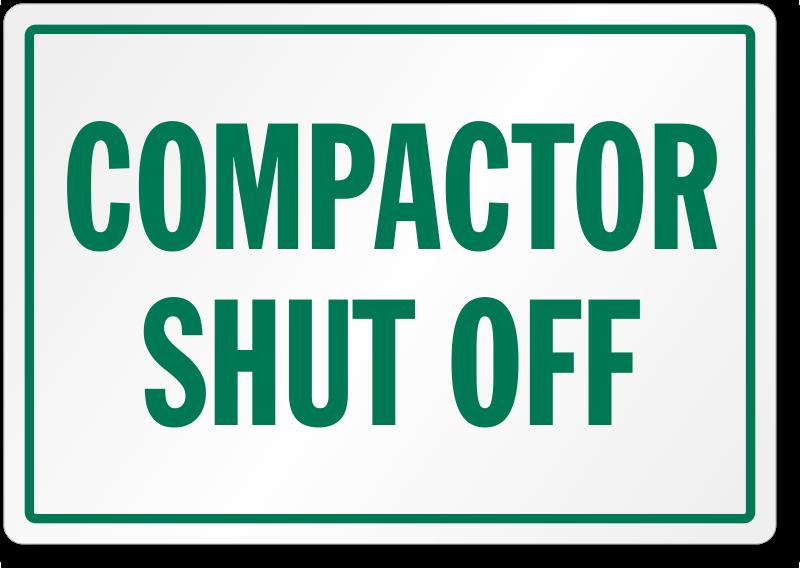 Compactor Shut Off Label