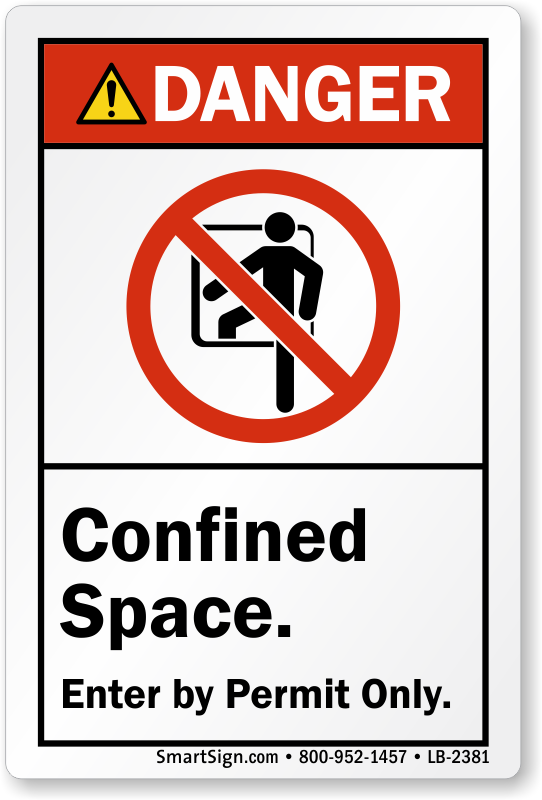 confined space entry by permit only ansi danger label sku