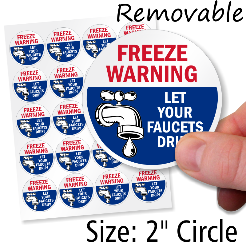 Freeze Warning Let Faucets Drip Static Cling Label, SKU: LB-2686 ...
