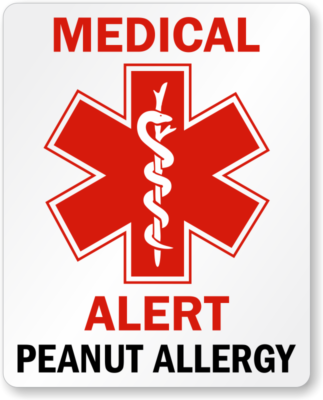 Medical Alert Peanut Allergy Label Free Shipping Sku