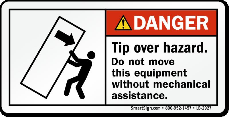 Tip Over Hazard, Use Mechanical Assistance Label