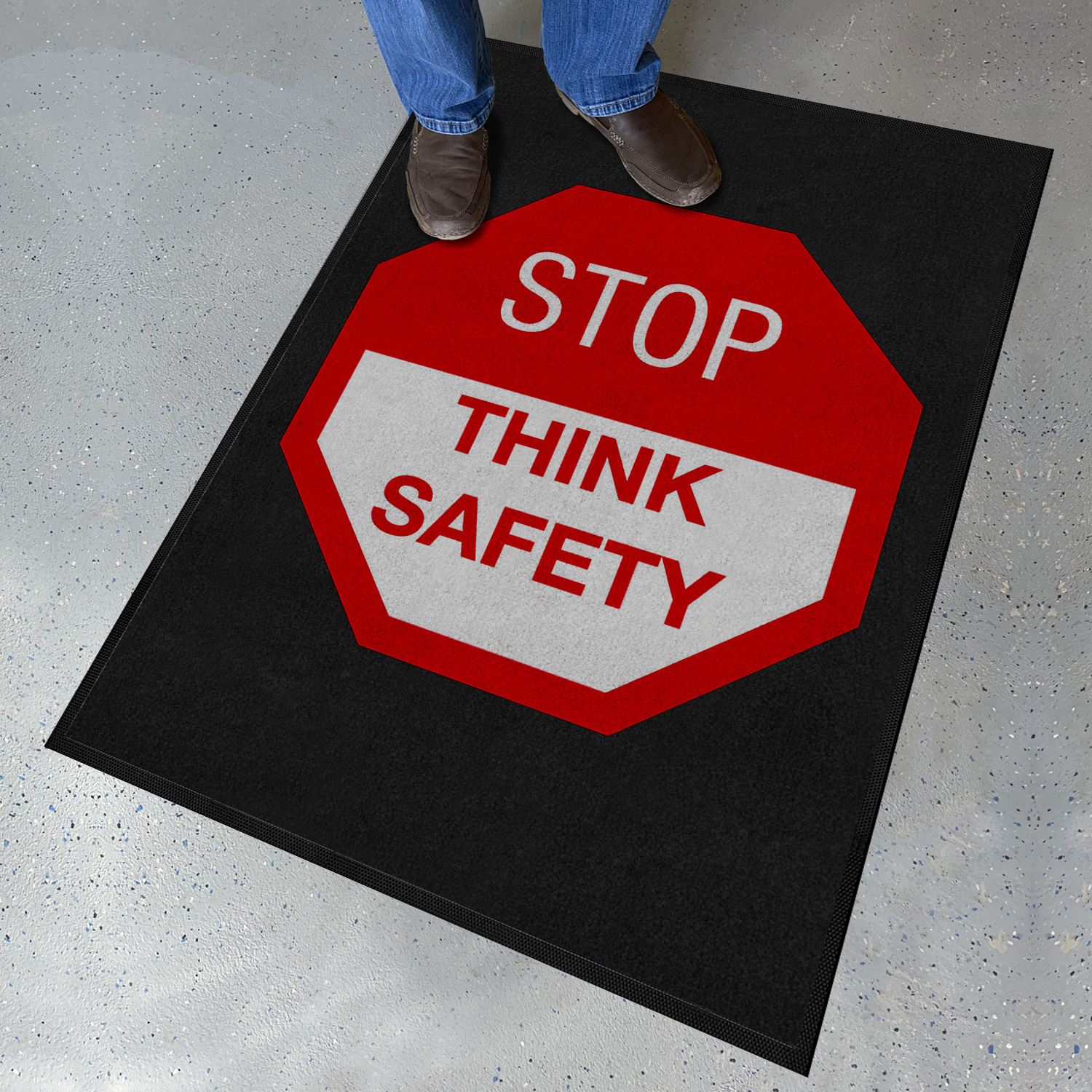 stop think safety safety message mat signs sku mt 0238