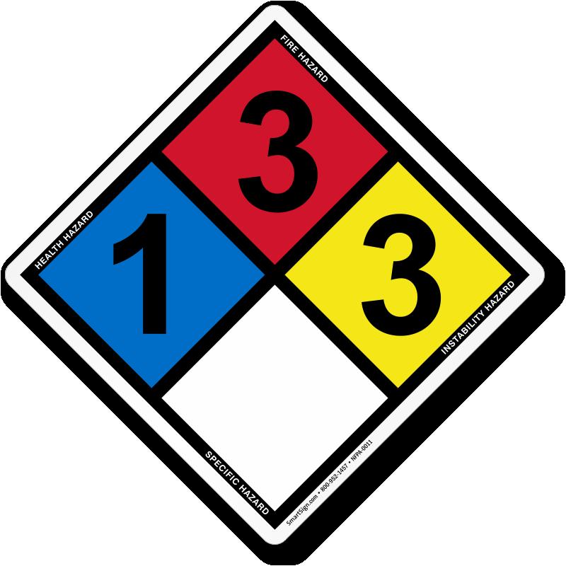 Hazardous Material Diamond: NFPA Ratings (1,3,3) Sign, SKU: NFPA-0011