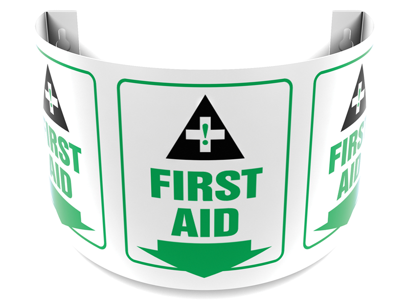 180 Degree Projecting First Aid Sign with arrow
