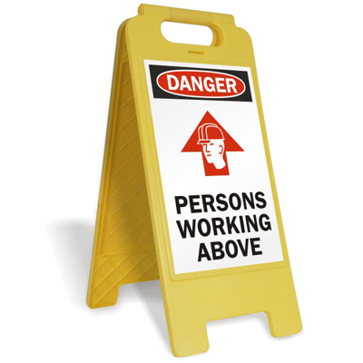 persons working above fold ups floor sign free delivery sku sf 0112