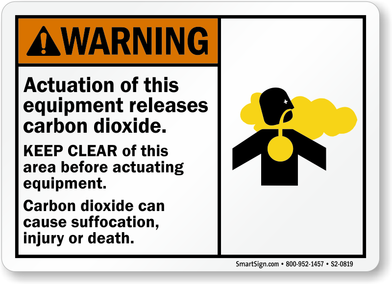 Actuation Equipment Releases Carbon Dioxide, Keep Clear Sign