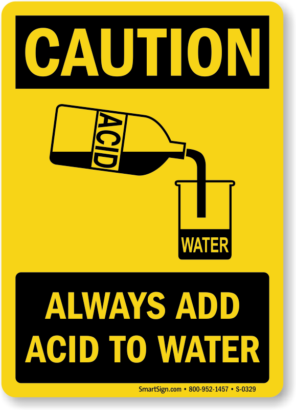 Caution Always Add Acid Sign