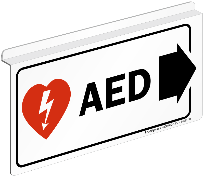 Aed Sign With Right Arrow And Symbol Free Shipping Sku S 6167 R
