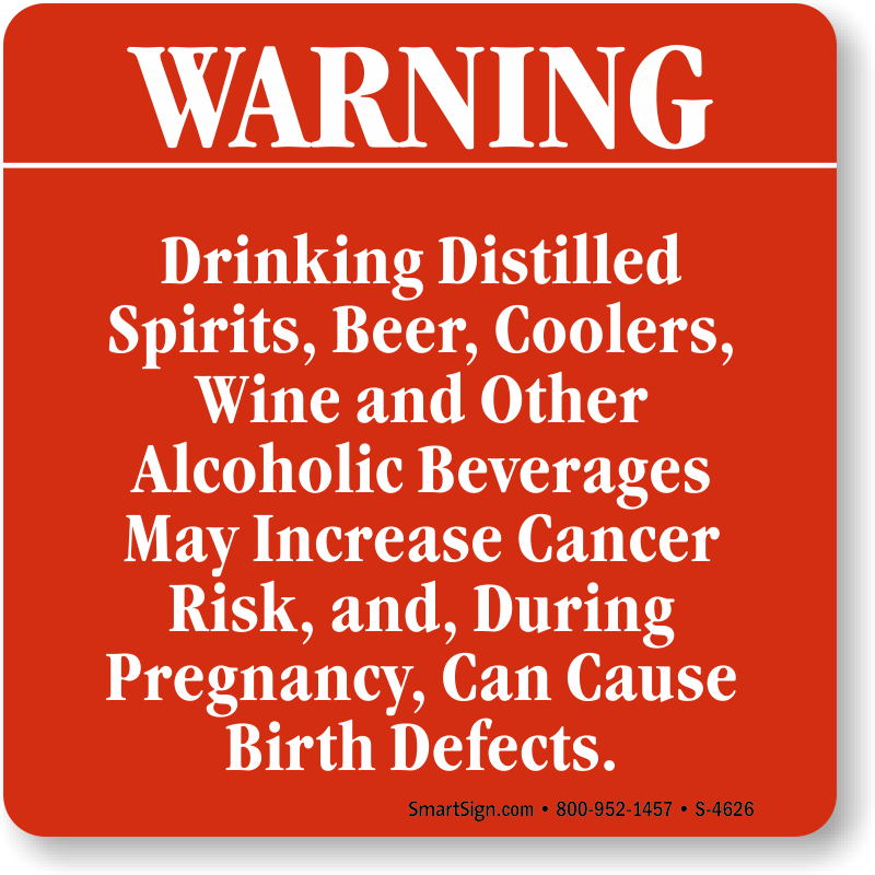 Warning Drinking Distilled Spirits, Beer, Coolers Sign