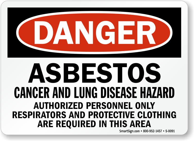 danger asbestos sign cancer hazard authorized person only sku s 0091. Black Bedroom Furniture Sets. Home Design Ideas