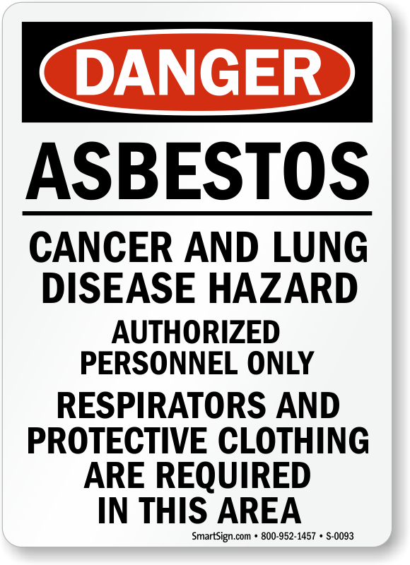 asbestos cancer lung disease hazard danger sign free pdf sku s 0093. Black Bedroom Furniture Sets. Home Design Ideas