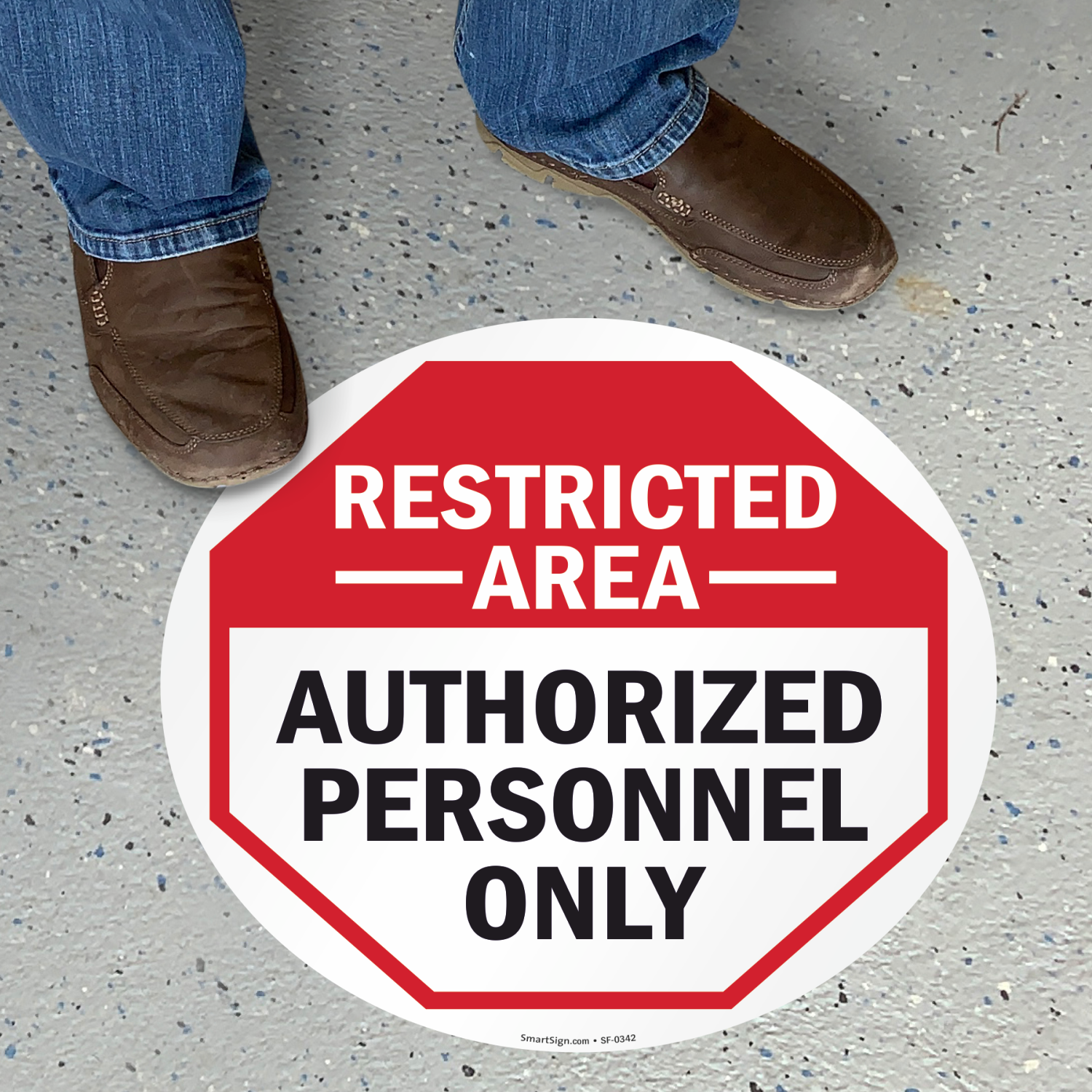 Restricted Area Authorized Personnel Floor Sign