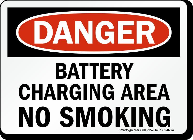 Danger Battery Charging Smoking Sign