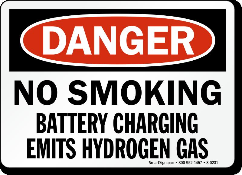 Danger Smoking Battery Charging Sign