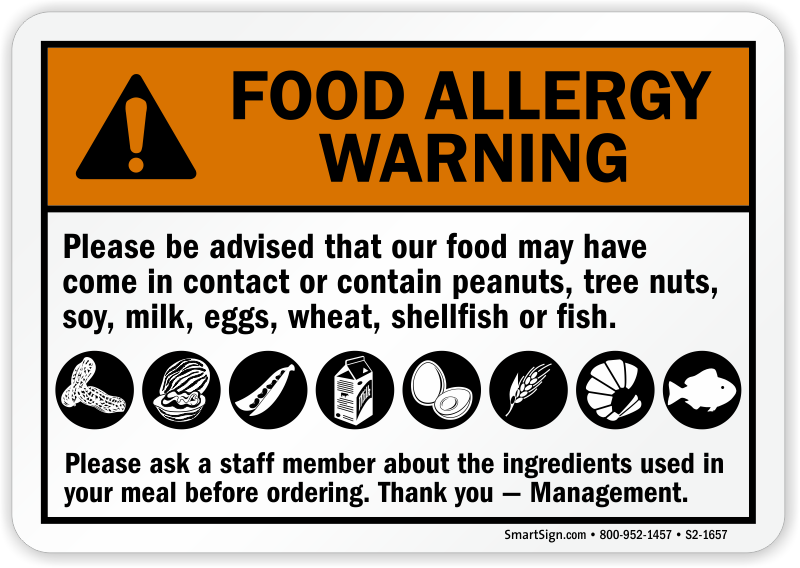 Be Advised Food May Contain Allergy Sign