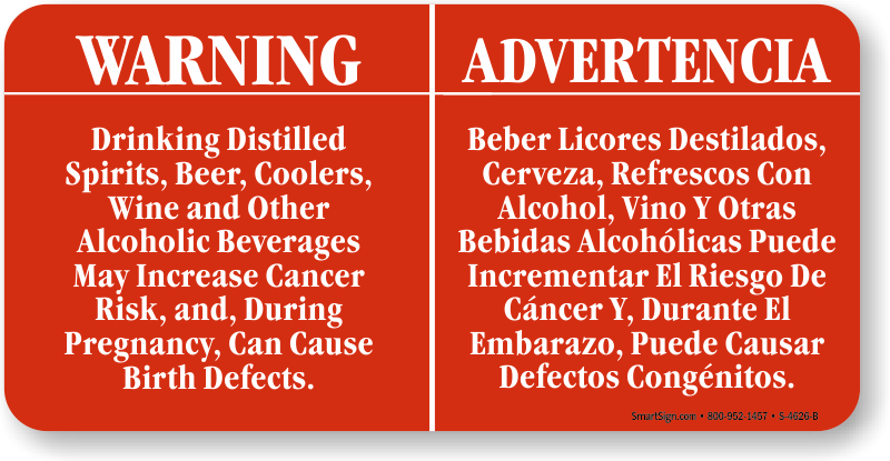 Bilingual California Prop 65 Sign For Alcohol