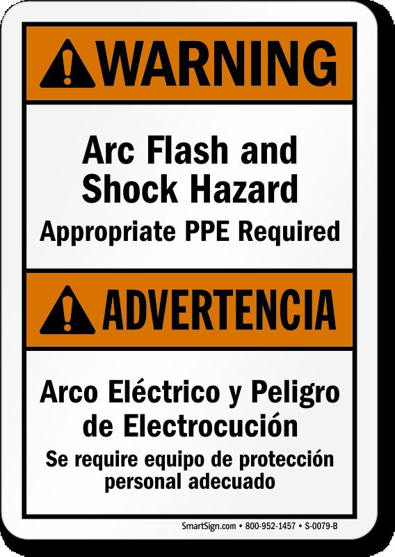 Bilingual Arc Flash Shock Hazard, PPE Required Sign
