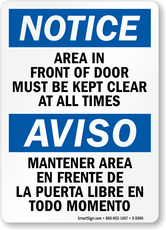 Keep Clear Signs Stay Clear Signs Keep Passage Clear