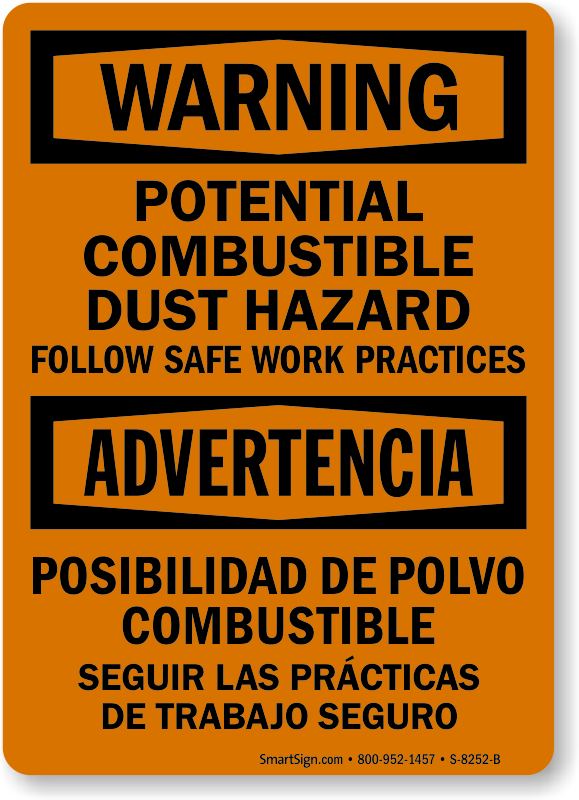 Bilingual Potential Combustible Dust Hazard Sign