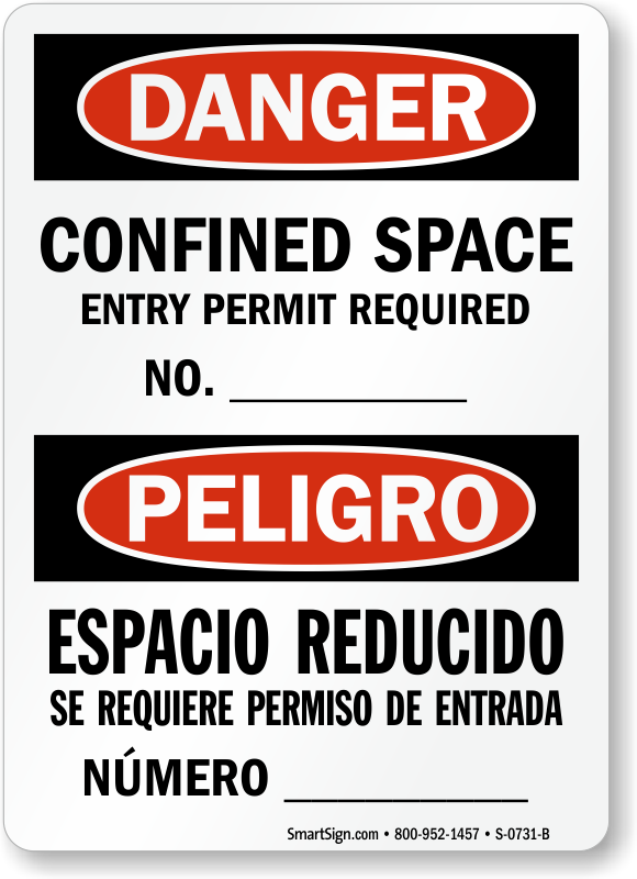 Confined Space Entry Permit Required No. Bilingual Sign