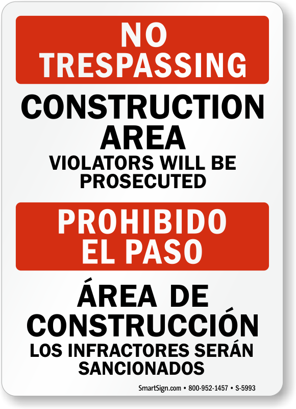 Bilingual Construction Area Violators Prosecuted Sign