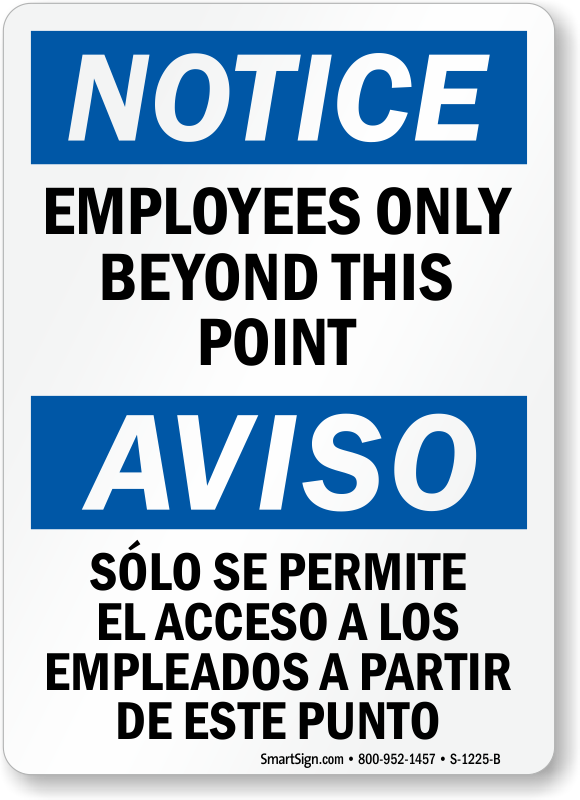 photograph relating to Printable Employees Only Sign known as Bilingual Attention Staff Just Outside of This Truth Signal, SKU