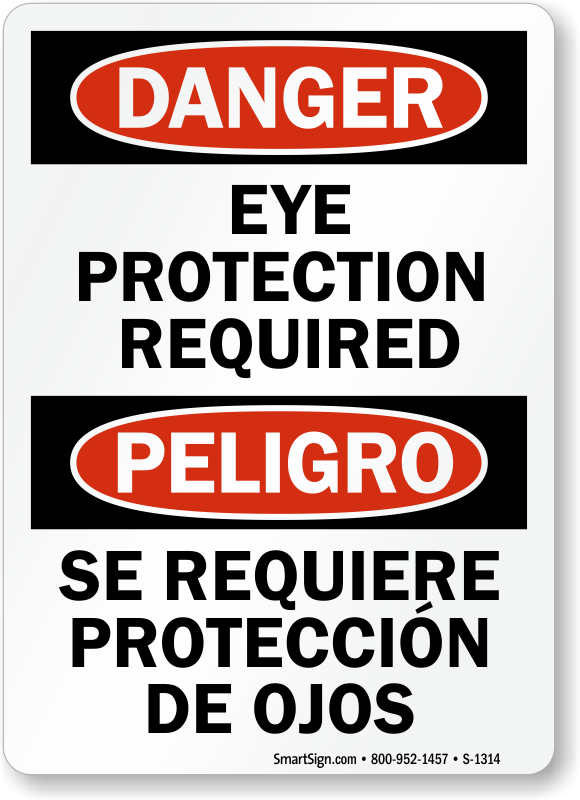Eye Protection Required Sign Se Requiere Proteccion De