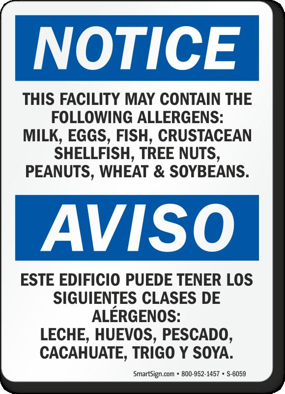 Facility Contains Milk, Eggs, Fish, Allergens Bilingual Sign