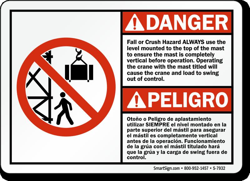 Bilingual Fall Or Crush Hazard Sign