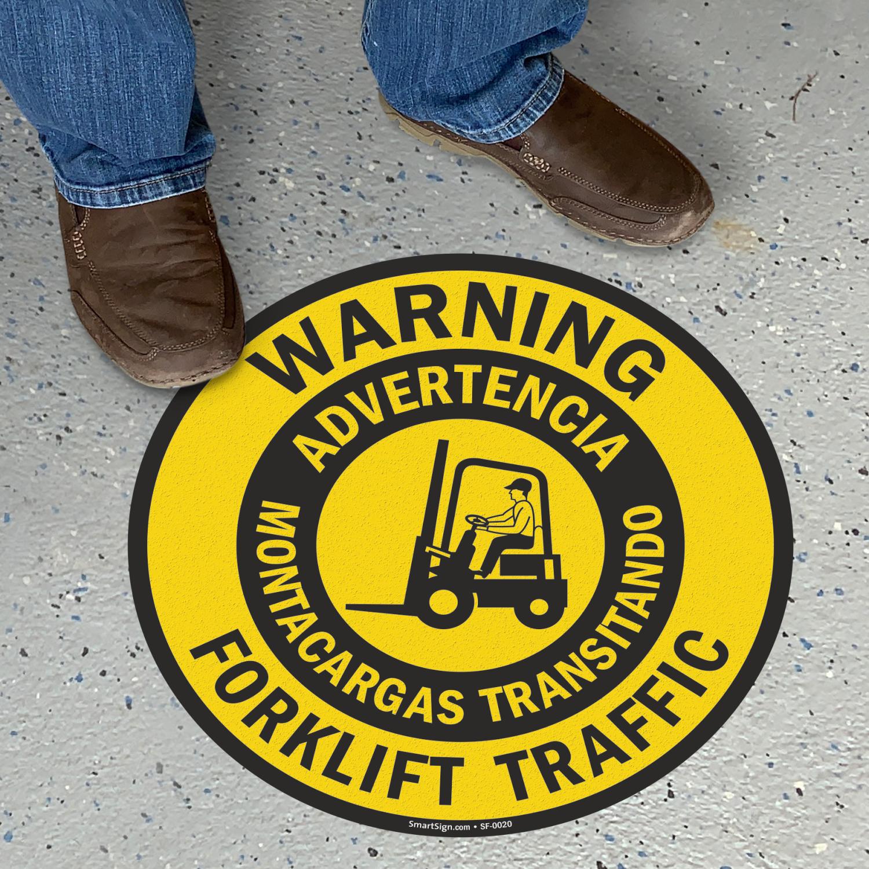 Bilingual Warning Forklift Traffic Slipsafe™ Floor Sign