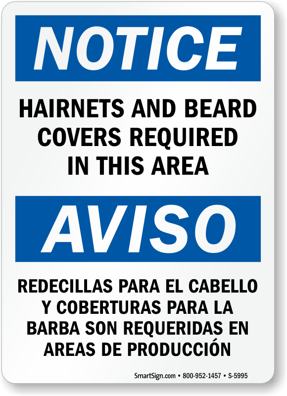 Bilingual Hairnets And Beard Covers Required Sign
