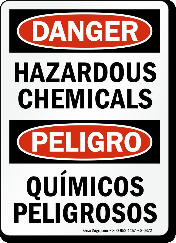 Bilingual Danger Hazardous Chemicals Sign