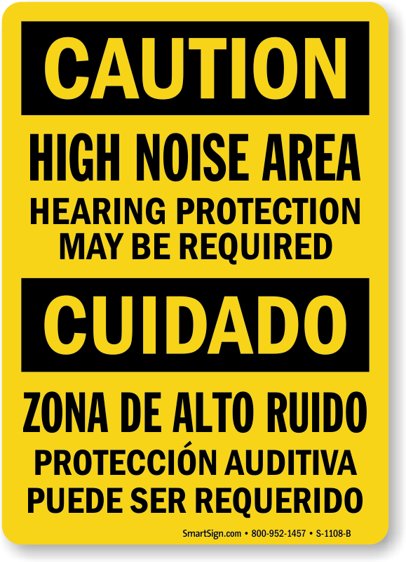 Bilingual High Noise Area, Hearing Protection Required Sign