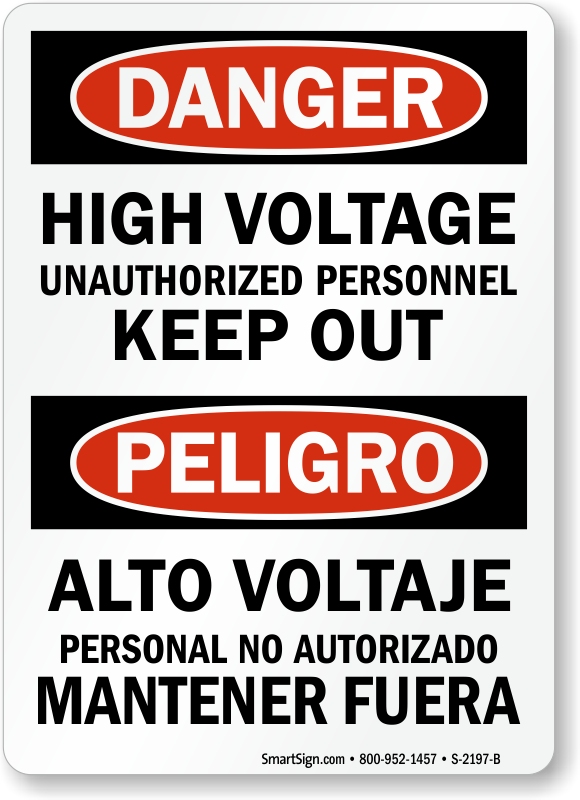 High Voltage Unauthorized Personnel Keep Out Bilingual Sign