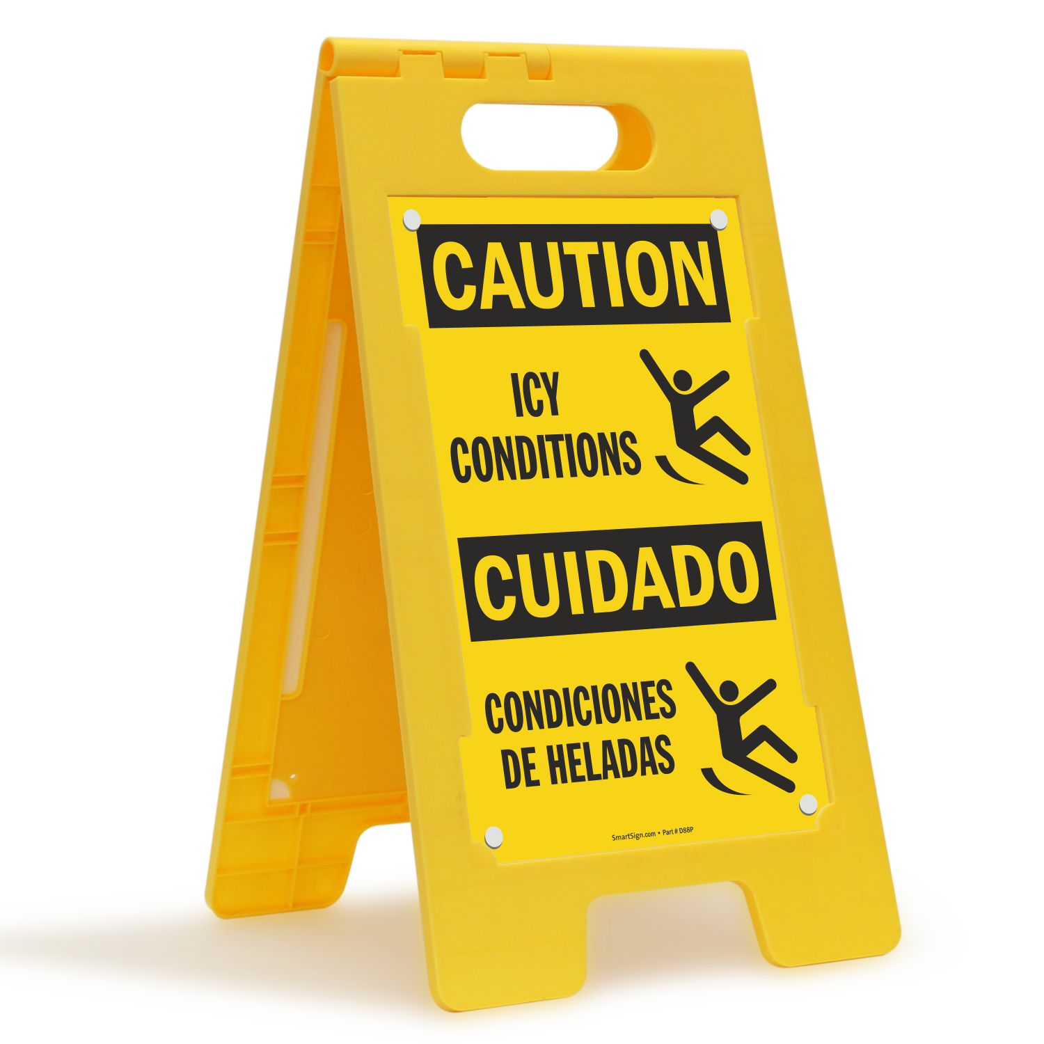 Condiciones De Heladas, Caution Icy Conditions Standing Sign
