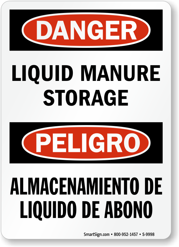 Bilingual Liquid Manure Storage Sign