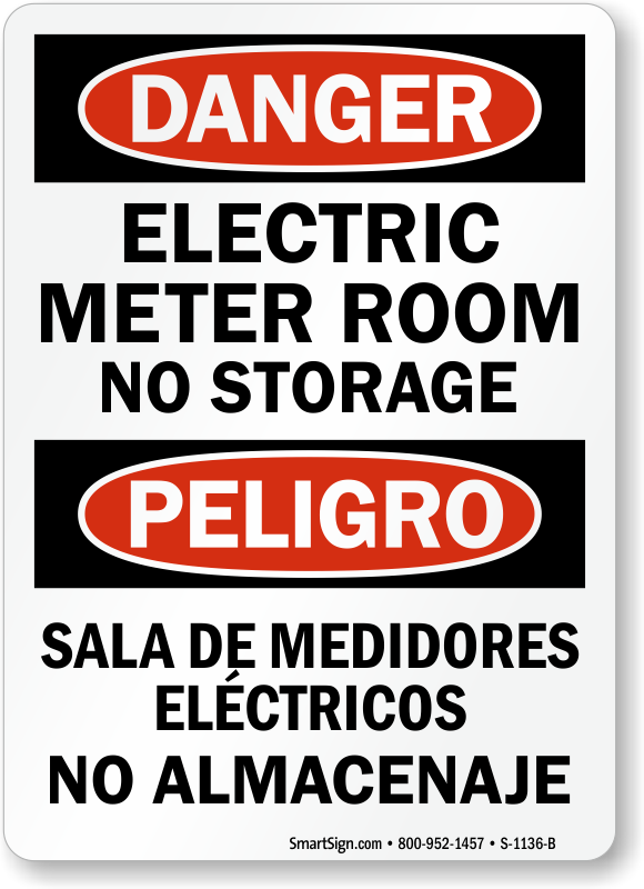 Bilingual Electric Meter Room No Storage Sign