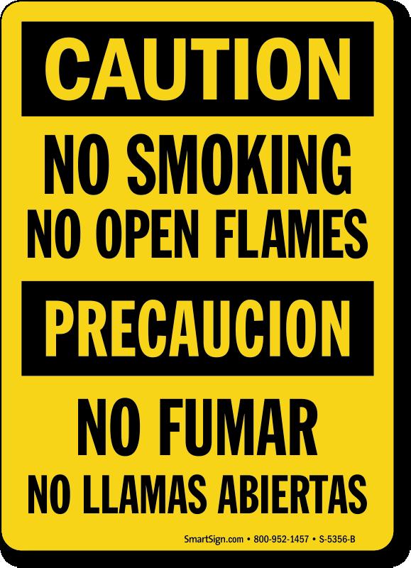 Bilingual No Smoking No Open Flames Sign