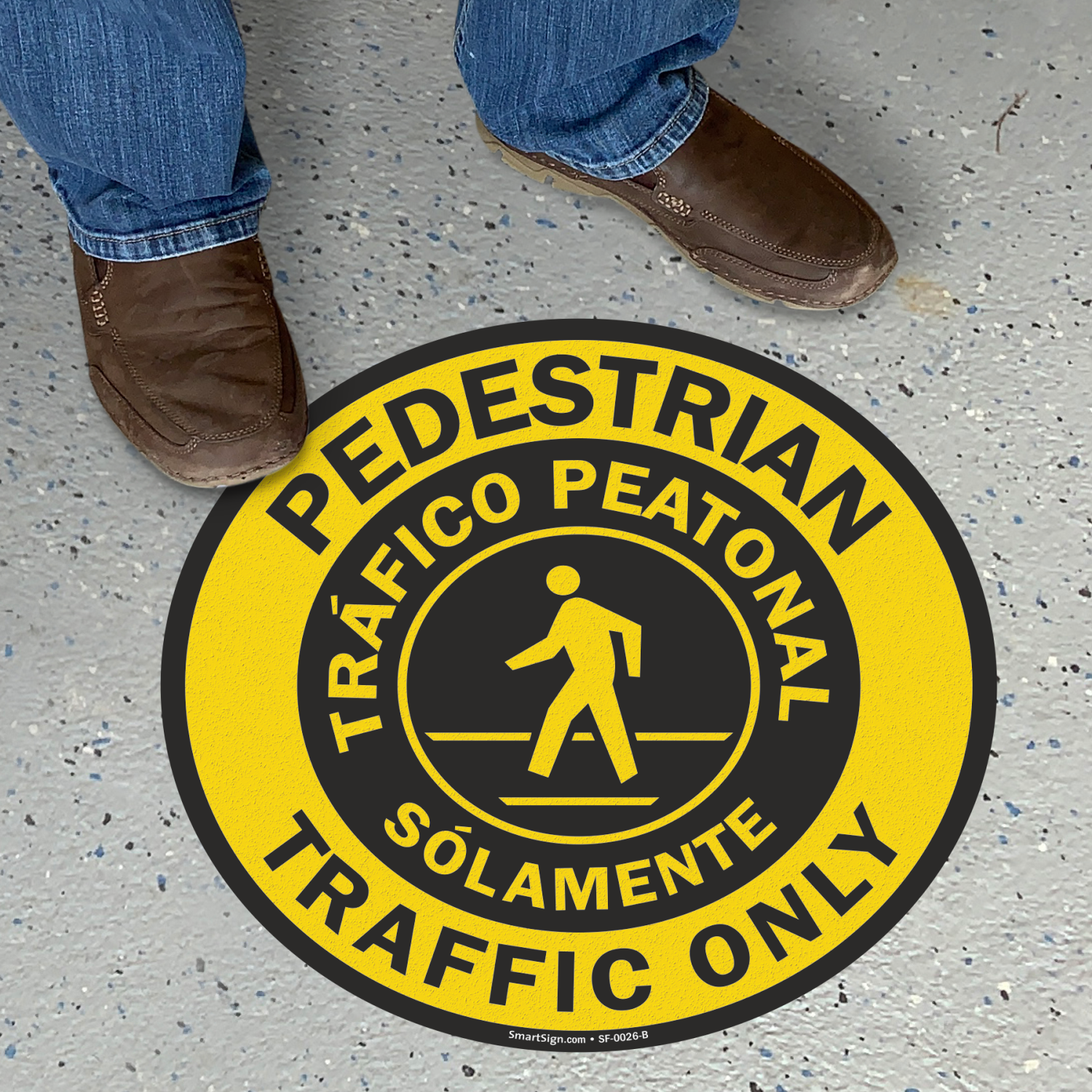 Pedestrian Traffic Only, Trafico Peatonal Solamente Floor Sign