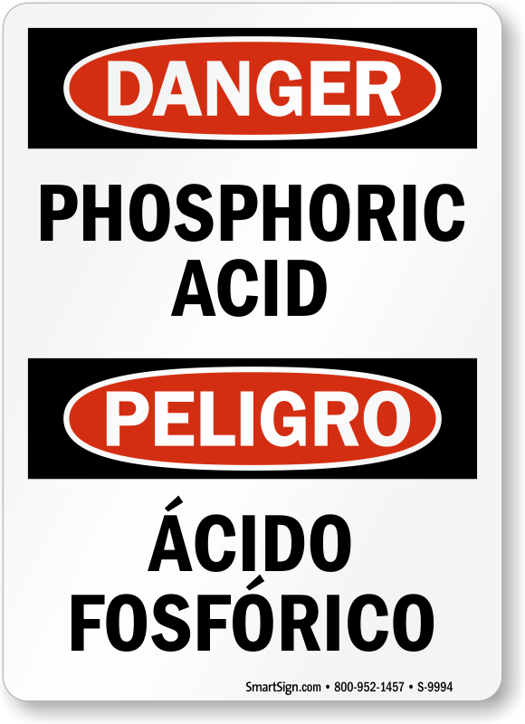 Bilingual Phosphoric Acid Acido Fosfórico Sign