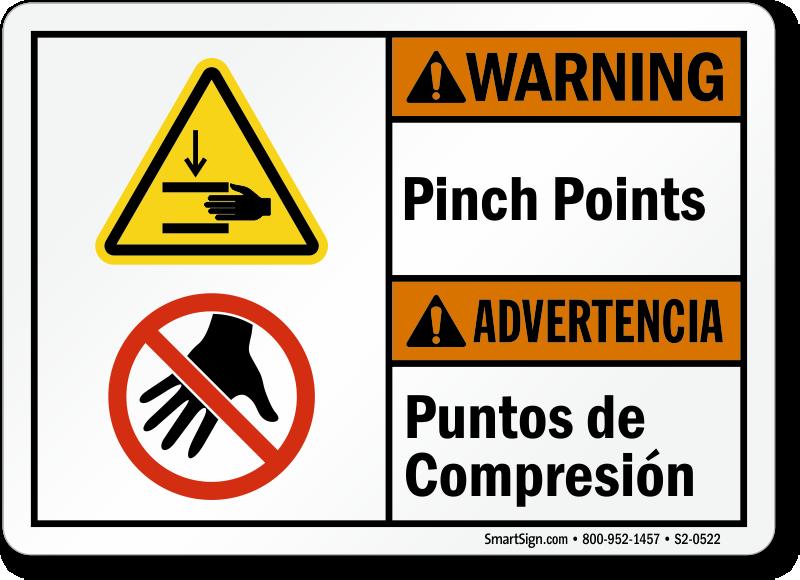 Pinch Points Puntos De Compresion Bilingual Warning Sign