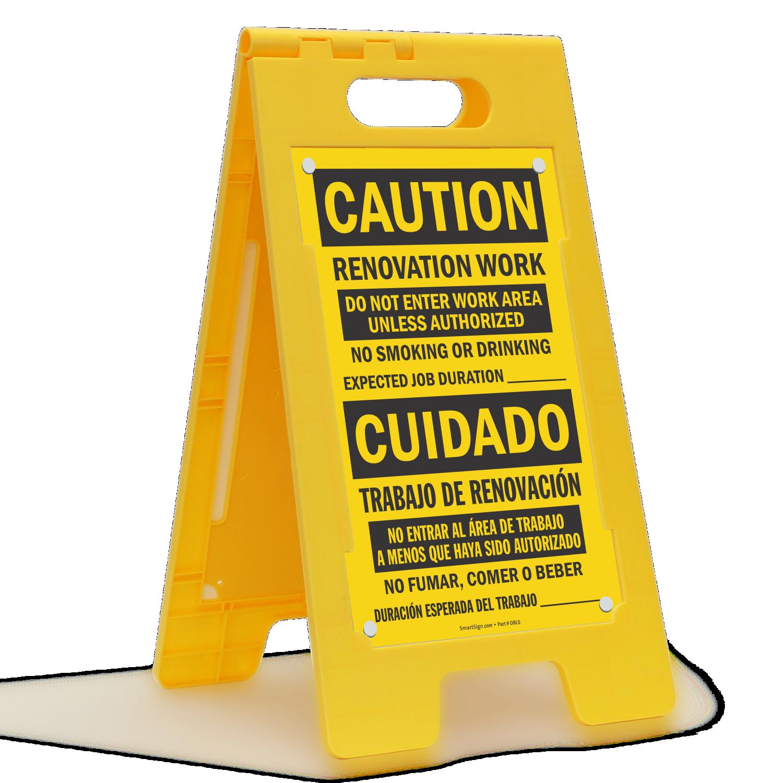 Bilingual Renovation Work No Smoking Standing Floor Sign