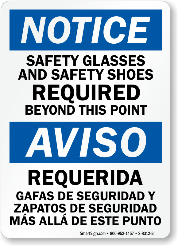 Bilingual Notice Safety Glasses Shoes Required Sign