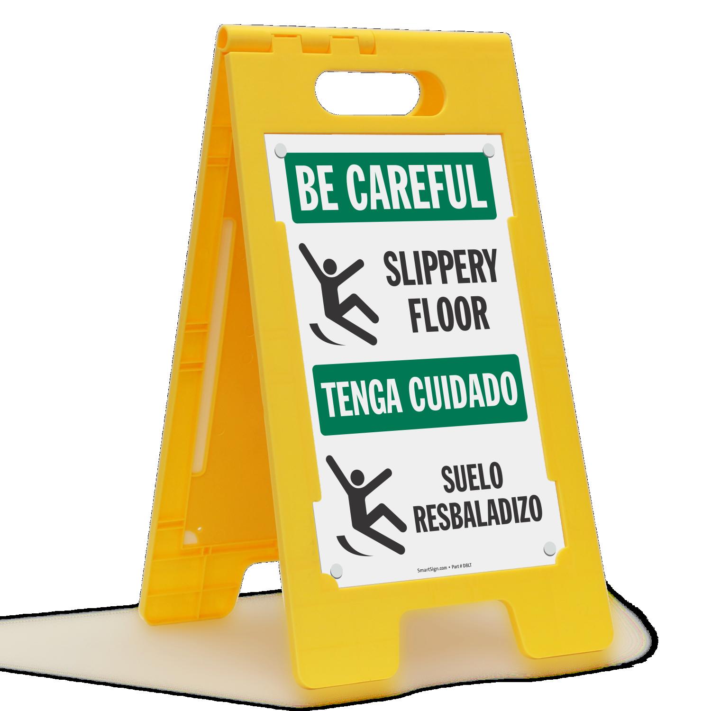 Bilingual Slippery Floor Be Careful Floor Sign