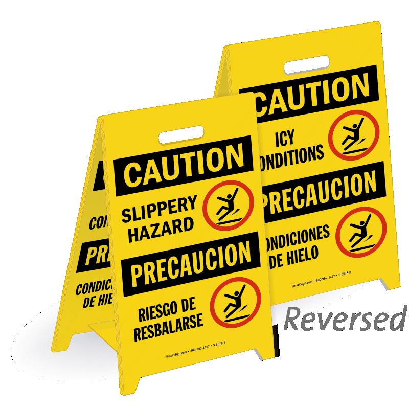 Bilingual Slippery Hazard Icy Conditions Standing Floor Sign