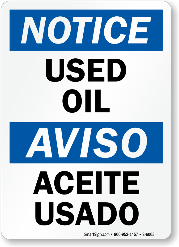 Bilingual Used Oil Aceite Usado Sign