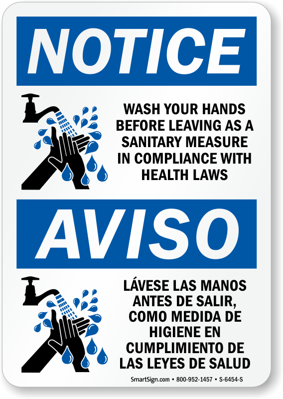 graphic regarding Wash Hands Sign Printable titled Bilingual Focus Clean Your Palms In advance of Leaving Indication, SKU: S