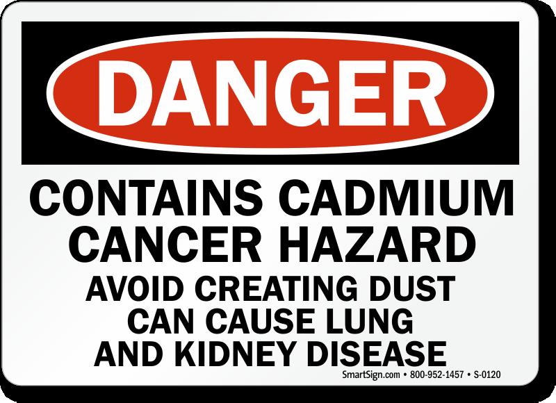 Cadmium Signs Cadmium Cancer Hazard Signs