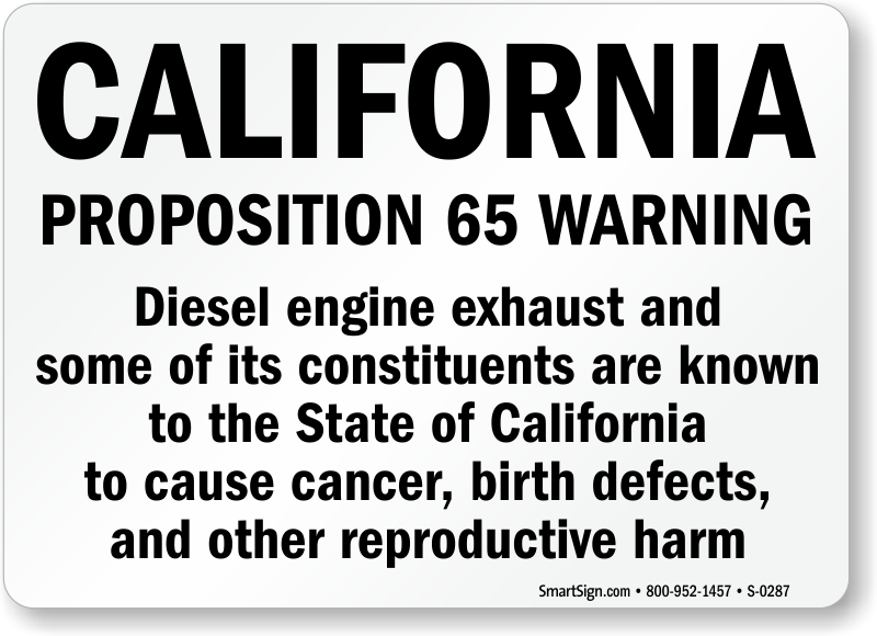 California Proposition 65 Diesel Exhaust Sign
