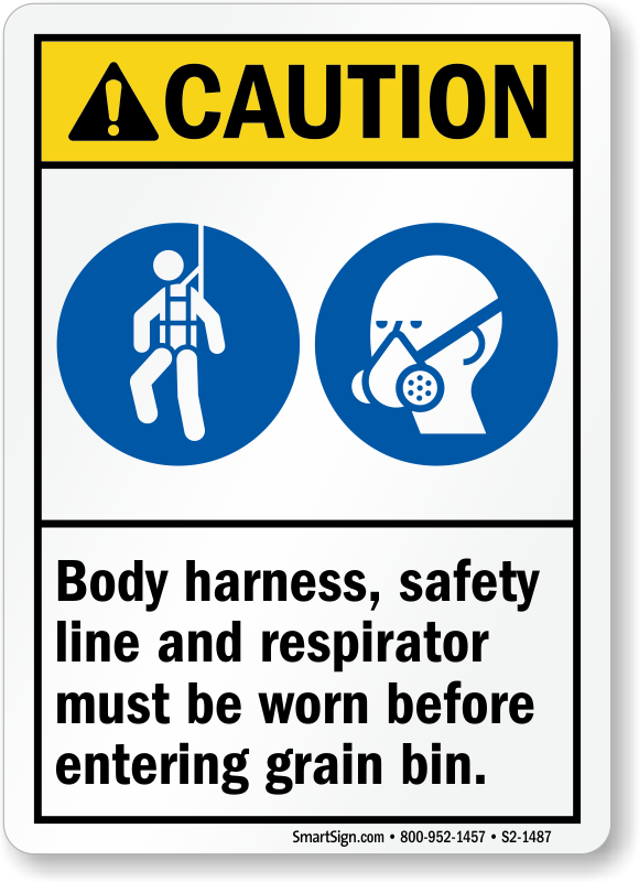 Body Harness and Respirator Required Before Entering Sign